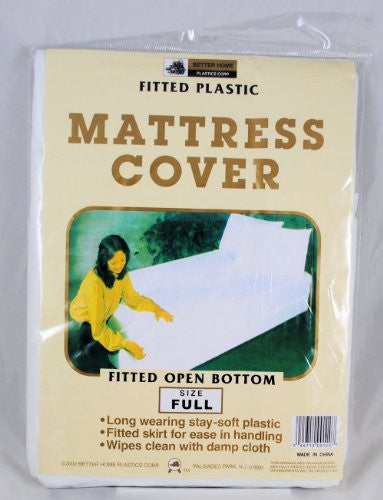 Full Mattress Cover White Fitted Plastic Protector
