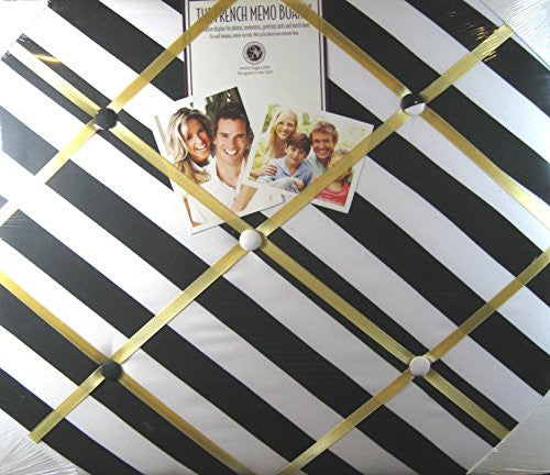 The French Memo Board - A Creative Display for Photos, Mementos, Greeting Cards and Much More-Black & White Diagonal Stripe - Factory Sealed
