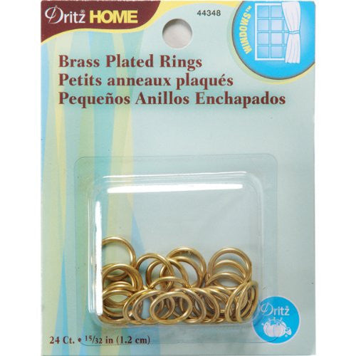 Dritz 44348 Brass Plated Rings, 15/32-Inch, 24-Pack