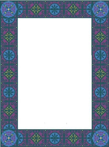 Picture Matting-Border Blue & Purple Shapes-Vinyl Stained Glass Film, Static Cling Photo Frame Decal
