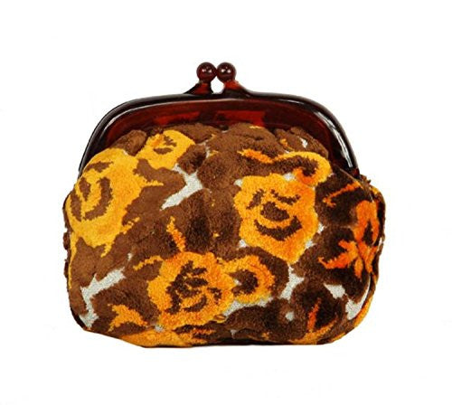 "6.5"" Diva Fashion Purse Small Brown and Orange Flocked Upholstery Clutch Handbag"