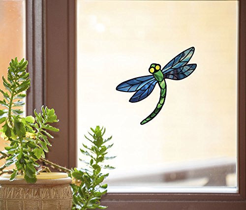 "Dragonfly Stained Glass - D3 - See-Through Vinyl Window Decal Copyright YYDCo. (5.75""w x 5.25""h)(Blue Wings)"