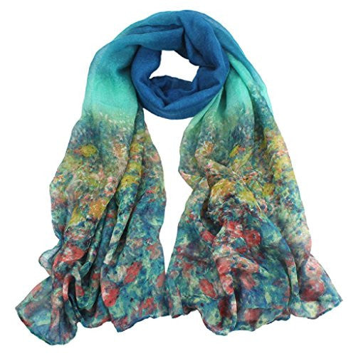 BeautyVan, Womens Ladies Fashion Flower Voile Stole Scarves Long Neck Wraps Shawl Scarf (E)
