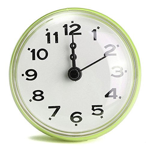 Bathroom Bath Kitchen Waterproof Shower Wall Clock Suction Cup Battery Operated Green