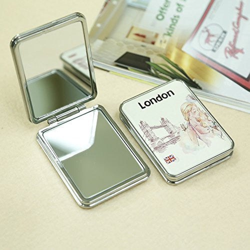 ABS Frame 2X Magnification Lady Portable Mirror With Tower Bridge