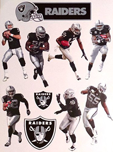 "Oakland Raiders Mini FATHEAD Team Set 7 Players + 3 Raiders Logo Official NFL Vinyl Wall Graphics - Each Player Graphic 7"" INCHES TALL"