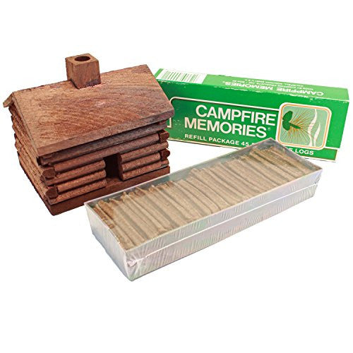 ORIGINAL Campfire Memories Log Cabin Incense Burner Plus 45 Incense Logs Made in Montana USA