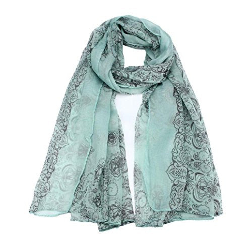 BeautyVan, Women Lady Sun Protection Gauze Kerchief Classical Print Scarf Scarves (green)