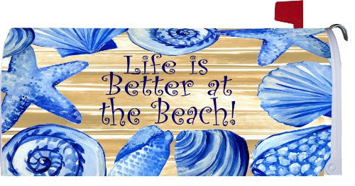 """ LIFE IS BETTER AT THE BEACH "" - Mailbox Makeover Vinyl Magnetic Cover"