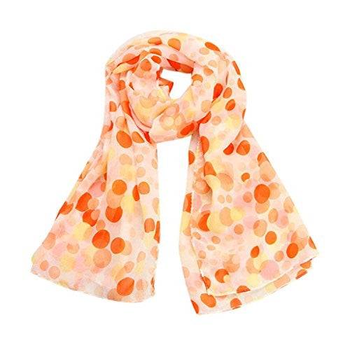 BeautyVan, Fashion Shawl Scarves Stole Wraps Women Lady Chiffon Dots Long Soft Neck Scarf (Orange)