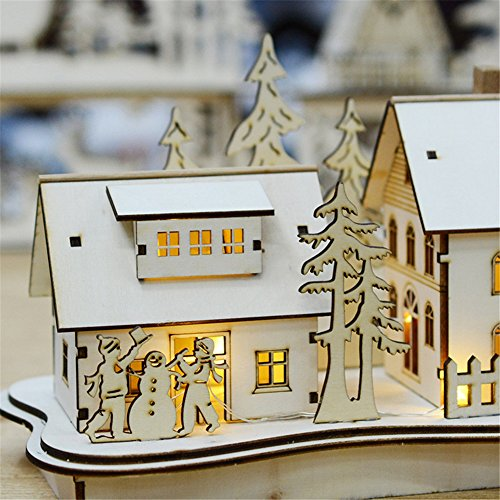 HongG Creative LED Christmas House Patio Style Wooden Christmas Village Decoration