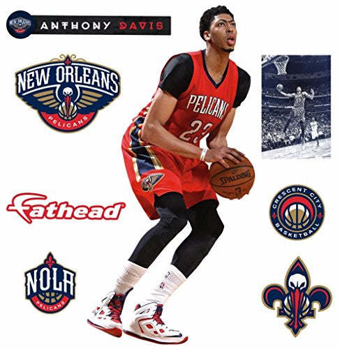 "Anthony Davis FATHEAD New Orleans Pelicans Logo Set Official NBA Vinyl Wall Graphics 17"" INCH"