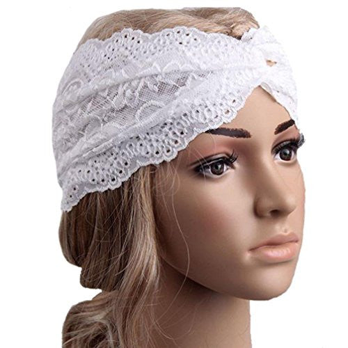 BeautyVan, Fashion Headwear Twist Sport Yoga Lace Headband Turban Headscarf (White)