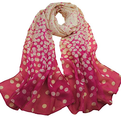 BeautyVan,Soft Wrap Lady Shawl Silk Chiffon Scarf (Hot pink)