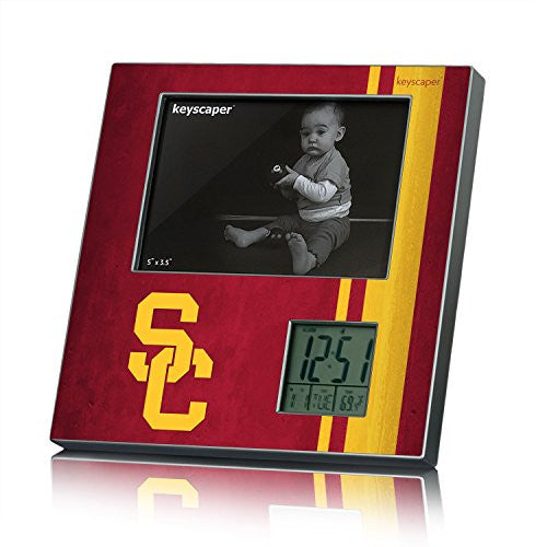 Southern California Trojans Picture Frame & Desk Clock officially licensed by the University of Southern California Alarm Date Temperature image up to 5'x3.5'' by keyscaper®