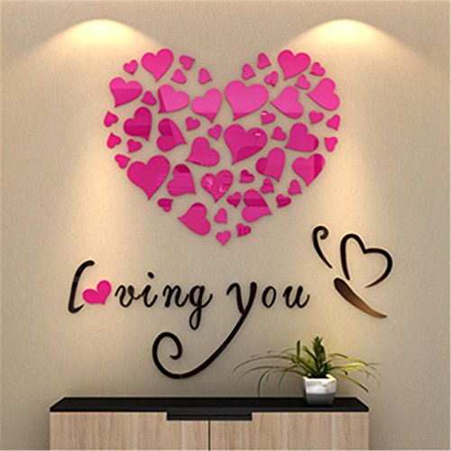 ♥Nation ☀ DIY Romantic Love Hearts (Pink color) Art Mural Wall Stickers Home Room Decor