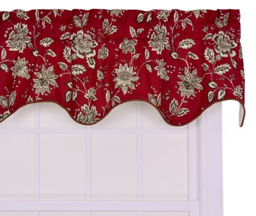 Ellis Curtain Jeanette Medium Scale Jacobean Lined Duchess Filler Valance Window Curtain, Red