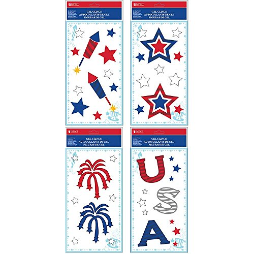 Impact Innovations Patriotic Set D (4) Window Gel Clings, 5.5 x 12