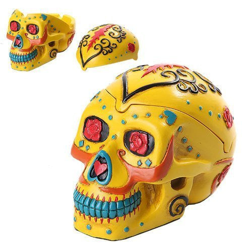 PTC Pacific Giftware Day of The Dead Themed Skull Hand Painted Resin Ashtray, Yellow