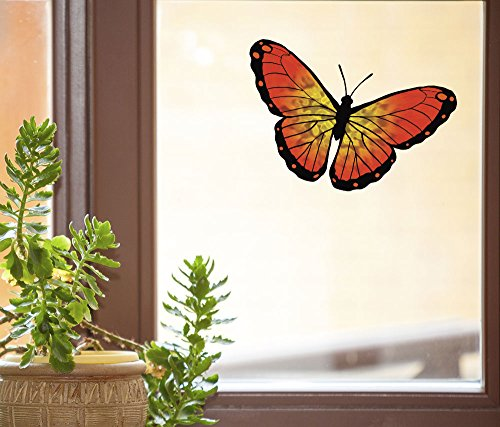 "Color Butterfly Orange Monarch -D1- See-Through Vinyl Window Decal - Copyright Yadda-Yadda Design Co. (VARIATIONS AVAILABLE) (MED 6""w x 3.75""h)(ORANGE)"