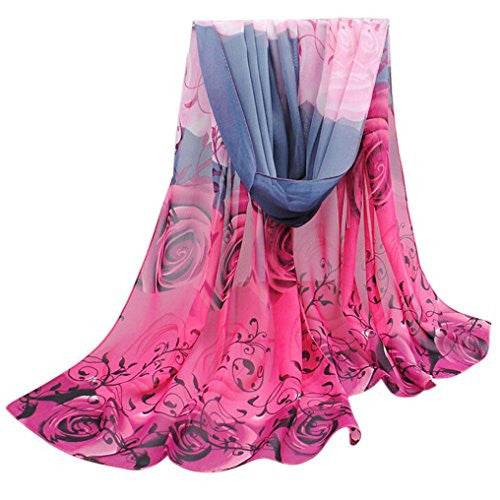 BeautyVan, Fashion Beautiful Rose Pattern Chiffon Shawl Wrap Wraps Scarf (Hot Pink)