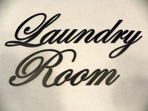 Decorative Metal Wall Art Decor Laundry Room Words Black