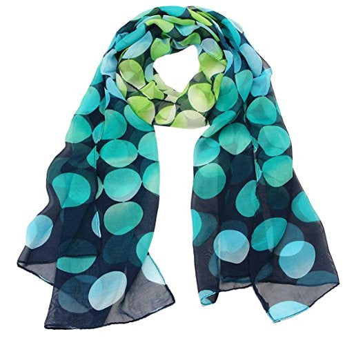 BeautyVan, Women Lady Shawl Chiffon Dot Rectangle Scarf Sun Protection Gauze Kerchief Scarves (blue)
