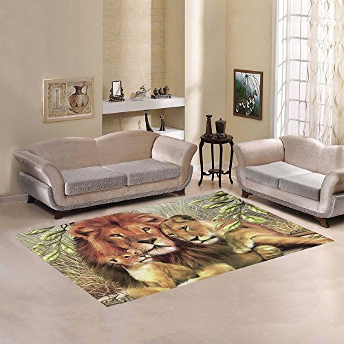 "Love Nature Sweet Home Modern Collection Custom Lion Art Area Rug 7'x 3'3"" Indoor Soft Carpet"