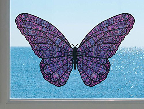 "Patterned Butterfly - See-Through Vinyl Window Decal - Copyright Yadda-Yadda Design Co. (Size and Color Choices) (MEDIUM, 6.5""w x 4""h, PURPLE)"