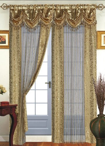 Dainty Home Tango Window Panel with Attached Valance, Gold