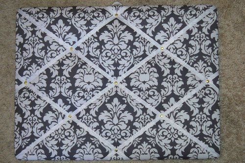 Damask Charcoal with White Ribbon French/memo Board