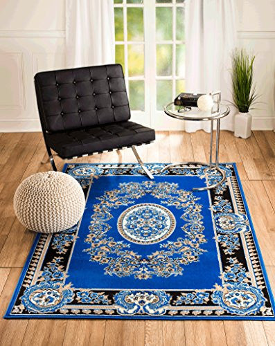 "NEW CHATEAU #4 ROYAL BLUE ELECTRIC BLUE ORIENTAL PERSIAN STYLE AREA RUG AVAILABLE IN APROX SIZE 2X3 ,5X7 ,8X11 (2X3 ACTUAL IS 22"" X 35"")"
