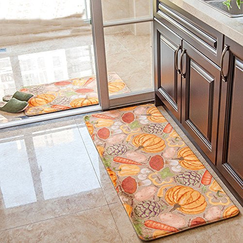 Wolala Home Pumpkin Vegetables Thanksgiving Rug 2 Piece Sets Soft Smooth Memory Foam Kitchen Rug Runner Non-slip Doormat (1'6x2'6+1'6x4'0, Multi)