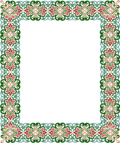 Picture Matting-Celtic Flower Design Border-Vinyl Stained Glass Film, Static Cling Photo Frame Decal