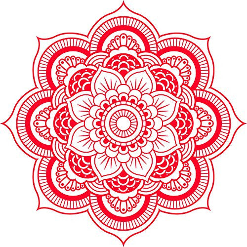 DETAILED MANDALA DESIGN BLACK WHITE Vinyl Decal Sticker Two in One Pack (8 Inches Wide Red)