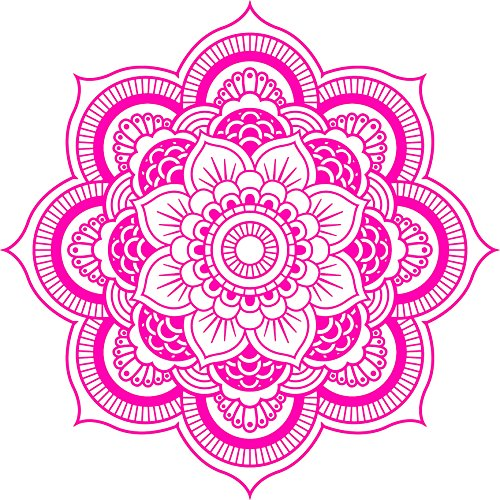 DETAILED MANDALA DESIGN BLACK WHITE Vinyl Decal Sticker Two in One Pack (8 Inches Wide Hot Pink)