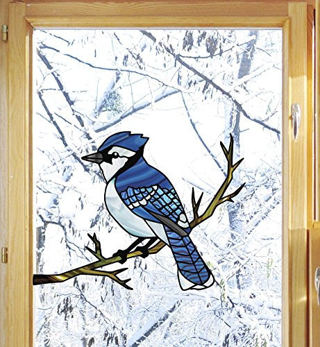 "Bird - Blue Jay Perched on Branch - Stained Glass Style See-Through Vinyl Window Decal - Copyright 2015 Yadda-Yadda Design Co. (6""w x 4.5""h, Blue Jay)"