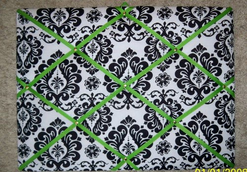 Damask with Lime Green Ribbon French/memo Board