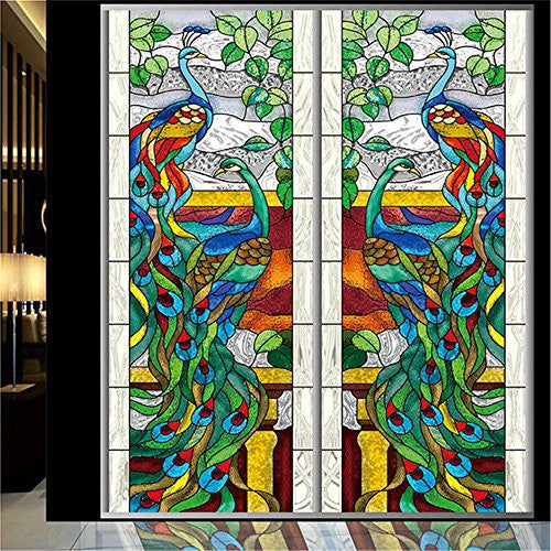 "(Set of 1 Panel) OstepDecor Custom Peacock Translucent Non-Adhesive Stained Glass Window Films 18"" W x 36"" H"