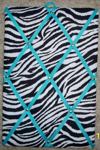"Zebra with Turquoise French / Memo Board (10"" x 15"")"