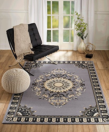 NEW CHATEAU #2 GREY BLACK ORIENTAL PERSIAN STYLE AREA RUG (2X3 SCATTER MAT /ACTUAL SIZE IS 22 INCH X 35 INCH)