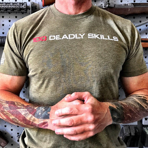 100 DEADLY SKILLS T-SHIRT - OD GREEN