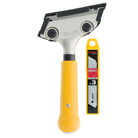 Tajima Scrape-Rite Scraper with a Professional Heavy Duty Handle and 3 Endura Solid 18MM Blades 200MM