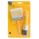 Coral Essentials Paint Brushes with a Block Brush and Flat Paintbrushes 4 piece pack set