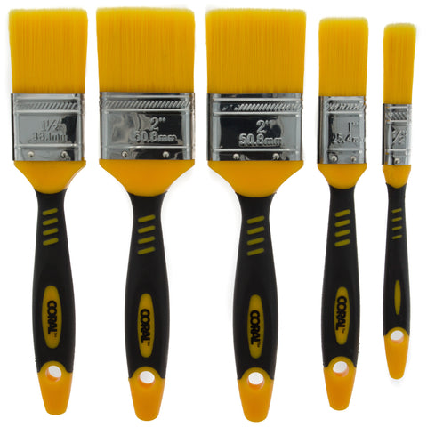 Coral Zero-Loss Paint Brushes with No Loss of Bristle Paintbrush Heads 5 piece pack set