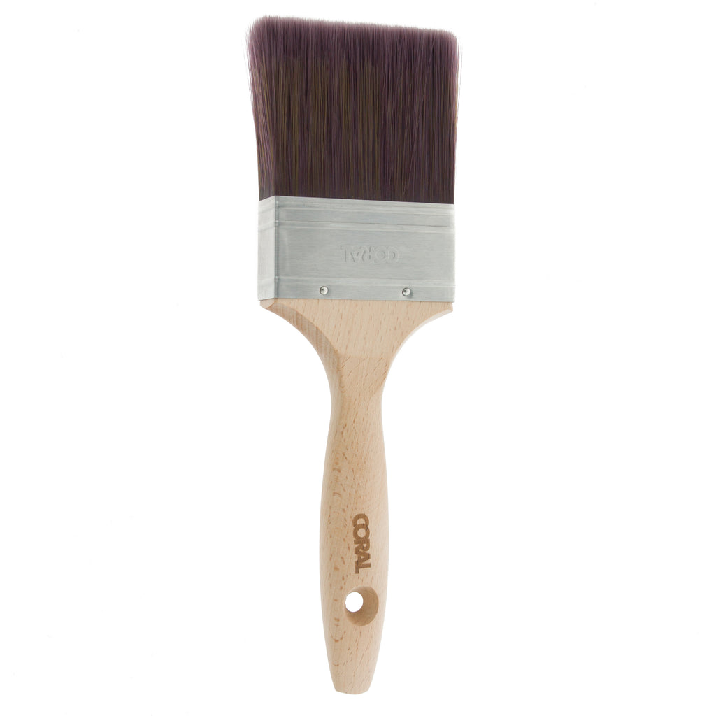 Coral Aspire Paint Brush with a Fine Synthetic Bristle Paintbrush Head and Wooden Handle 3 inch