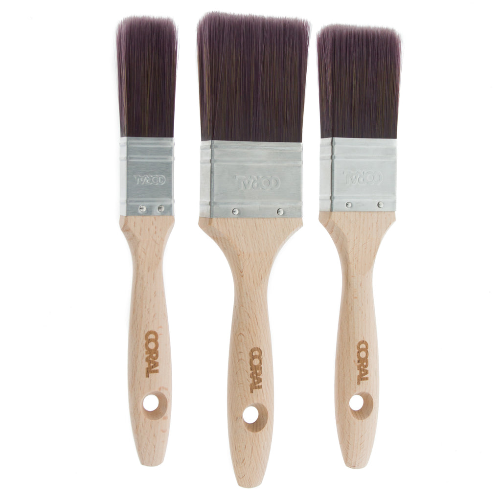 Coral Aspire Paint Brushes with Synthetic Bristle Paintbrush Heads and Wooden Handles 3 piece pack set