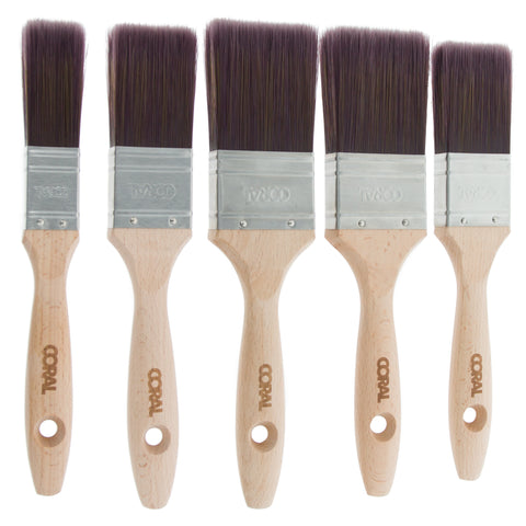 Coral Aspire Paint Brushes with Synthetic Bristle Paintbrush Heads and Wooden Handles 5 piece pack set