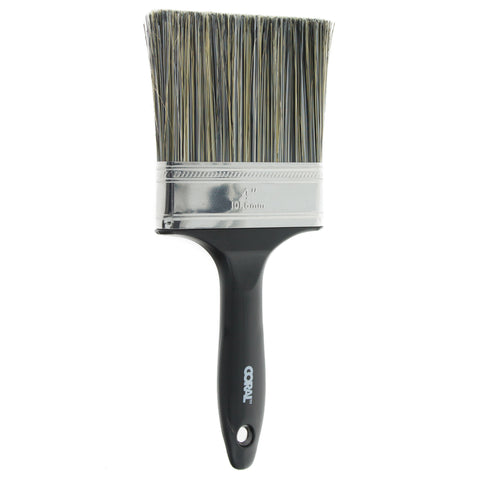 Coral Essentials Wall Paint Brush with a Bristle Paintbrush Head for use with All Paints 4 inch