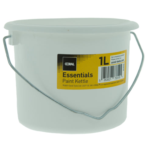 Coral Essentials Plastic Paint Kettle Container with Metal Handle for Paints and Paste 1 Litre